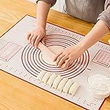 Tapis de Cuisson Patisserie en Silicone Anti-adhésif Réutilisable Baking Mat Fondant Pâte, 100% sans Bisphénol-A (BPA), avec