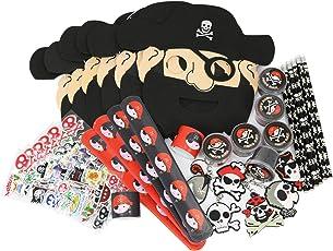 COM-FOUR® 36-teiliges Piraten Mitgebsel Set für Kindergeburtstage bestehend aus Schnapparmband, Schlüsselanhänger, Sticker, Bleistift, Maske und Schleim (036-teilig - Mitgebsel-Set)