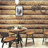 jasmineXDLstore Log wood wood grain wood bark veneer wallpaper bar cafe retro nostalgic style place log color 0.53m * 10m
