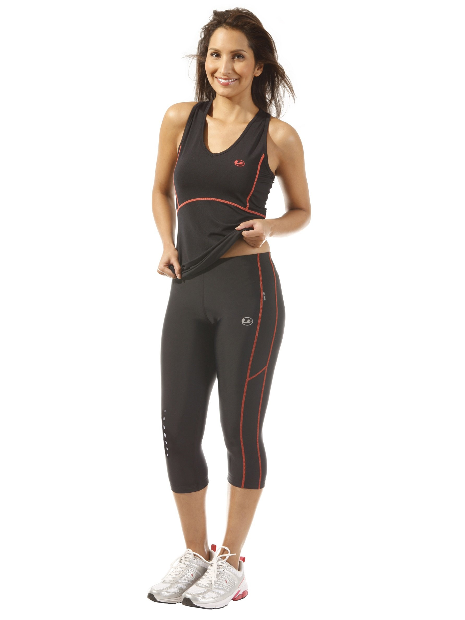 71Z0qOTV6xL - Ultrasport Women's Running Pants Capri with Compression Effect & Quick-Dry-Function