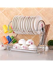 MW MALL India Stainless Steel Dish Drainer Rack Crockery Cutlery Plate Holder Glass Utensils Storage Organizer