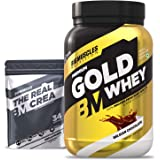 Bigmuscles Nutrition Premium Gold Whey 1Kg [Belgian Chocolate] with Free Real Crea 34 Servings |Whey Protein Isolate & Whey P