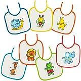 Baby Bites Duffi 5149-00 slabbetjes met strikken, uniseks, verschillende kleuren, 20 x 20 cm, 7-delig