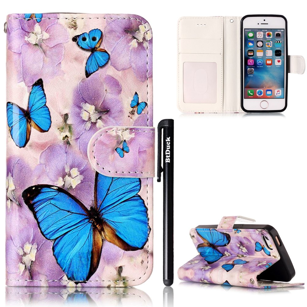 Cover per iPhone SE Flip Libro,BtDuck Ultra Slim PU Pelle Borsa e Portafoglio Tasca Progettato Spec
