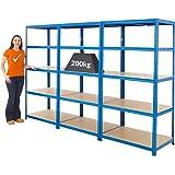 Mega Deal | 3x rayonnages pour charges lourdes - HxLxP 178 x 90 x 60 cm | 200 kg par étagère - Rayonnage métallique - étagère