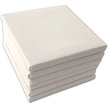 15cmx15cm Pack of 2 Square Traditional Depth Stretched Artist Canvas Primed
