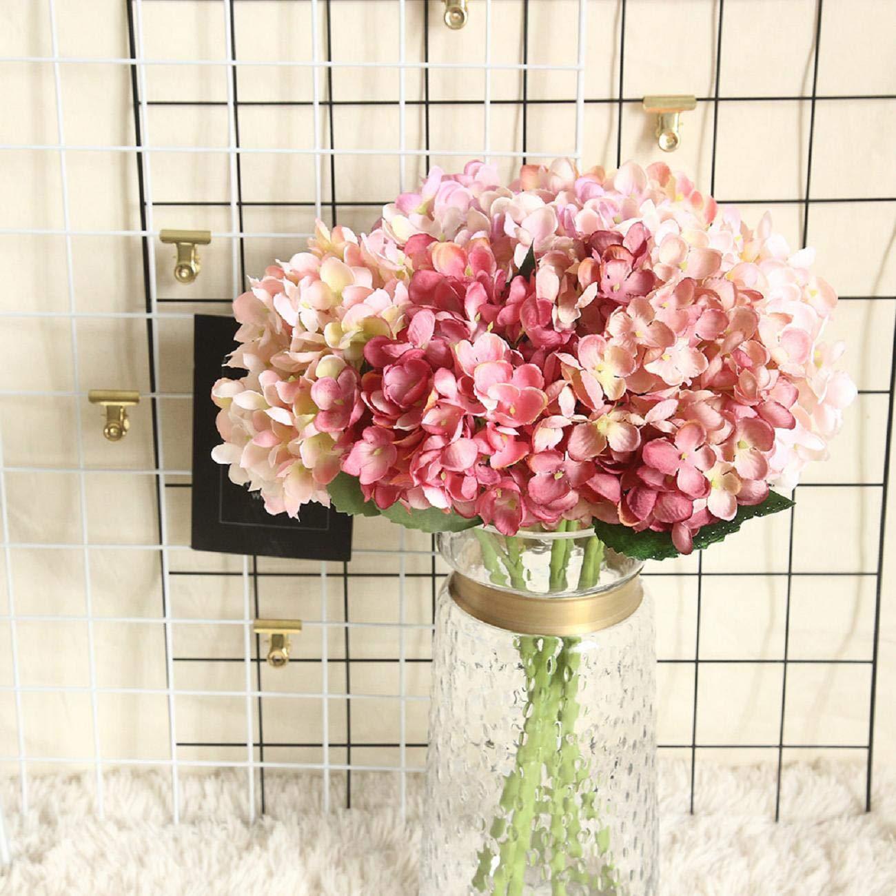 Lomsarsh Flor Artificial Flor de Hortensia Falsa Flor de Seda Falsa Hogar Hotel Oficina Banquete de Boda Jardín…