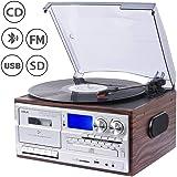 JORLAI 33/45/78 Giradischi con Bluetooth, Lettore CD e vinile, Riproduzione e Registrazione USB/SD, Lettore Cassette, PLL, Ra