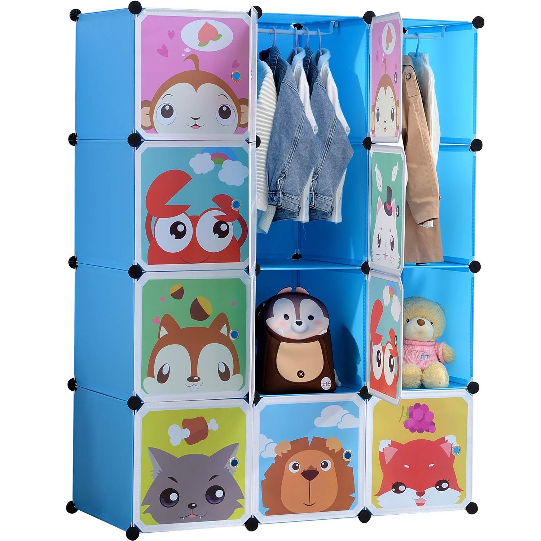 BRIAN & DANY Erweiterbares Kinderregal Kinder Kleiderschrank Stufenregal Bücherregal mit Türen & 2 Aufhängern, tiefere Fächer als normal (45 cm vs. 35 cm), 110 x 47 x 147 cm Blau 1