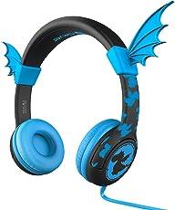 Kinder kopfhörer, iClever BoostCare Kinderkopfhörer, 85dB Lautstärkeregelung, Kinderfreundlich Silikon, Bat-Inspired Kabelgebundene Ohrhörer Headsets mit 3,5 mm Aux Jack Kabel Gratis Kabel (Blau)