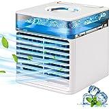Mini Air Cooler, JIMACRO Condizionatore D'Aria Portatile, 4 in 1 Ventilatore USB Dello Scrittorio Umidificatore e Purificator