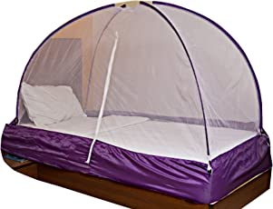 OnlineTree Polyester Foldable Single Bed Mosquito Net (Purple, 6x3)