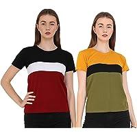 Reifica Women Tshirt Combo Pack of 2   Regular Fit Half Sleeves Round Neck Cotton Tops Combo for Women/Girls