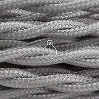 Amarcords - Câble électrique textile couleur ARGENT, torsadé, soie, 1 mètre, à 2 brins 2x0,75 - Fil vintage en tissu…