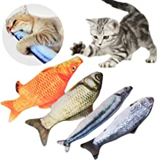 Giocattoli Catnip, 4 pezzi Catnip giocattoli per gatti simulazione peluche a forma di pesce gatto interattivo giocattolo cuscino Chew bite Kick forniture per Cat/Kitty/ Gattino Fish Flop Cat Giocattolo Catnip Toys (20cm)