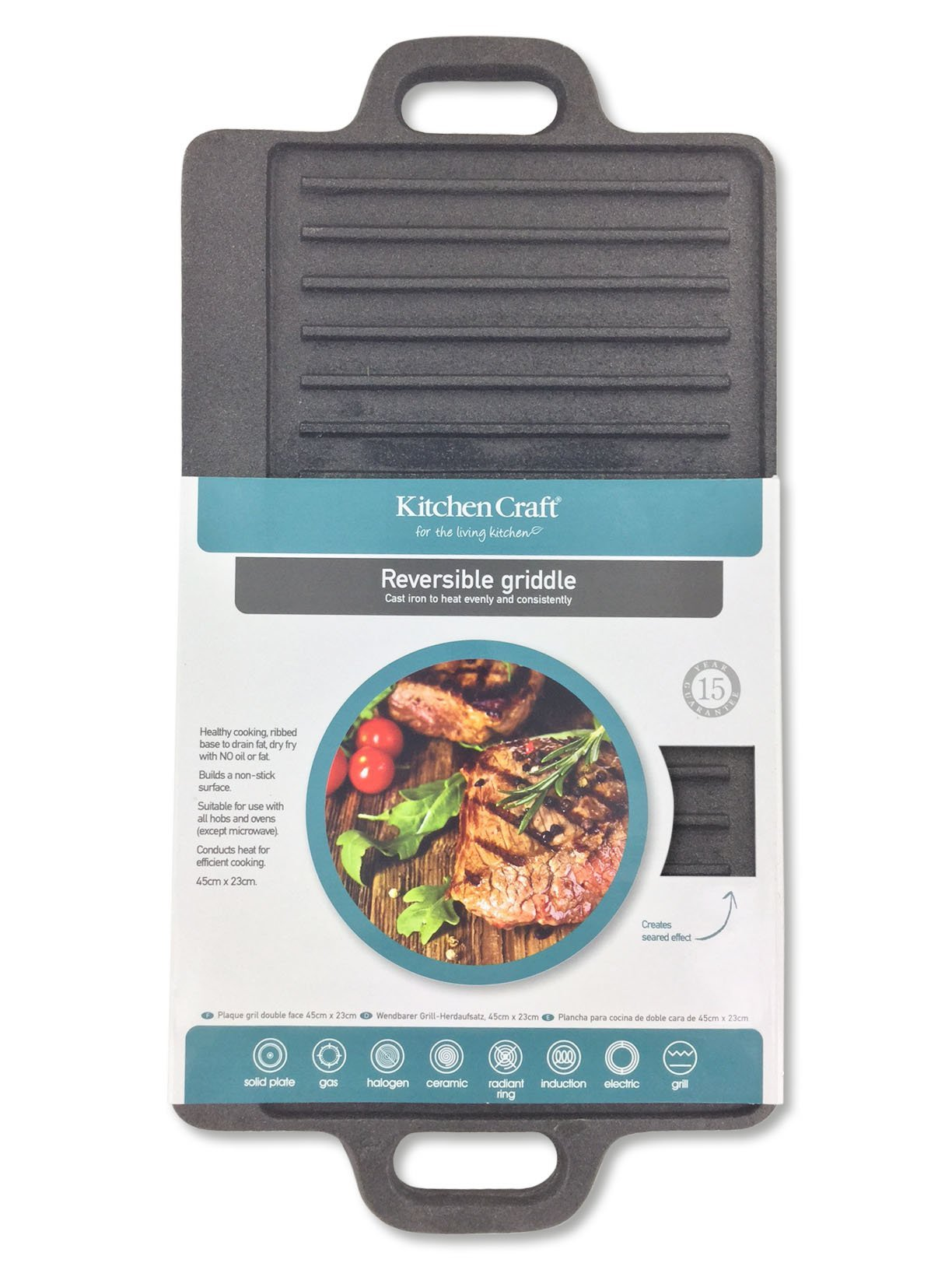 KitchenCraft Cast Iron Griddle Plate with Non Stick Finish and Handles, Induction Safe, 45 x 23 cm