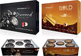 Professional DIAMOND + GOLD Facial Kit, Unisex For Fairness, Skin Whitening, Instant Glow (Sp. Combo For All Type Of Skin)