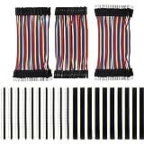 KeeYees 120pcs 3x10CM Jumper Wire Kabel Drahtbrücken Set 40pin Male zu Female, Male zu Male, Female zu Female mit 20pcs Kopfleisten Single Reihe 40pin PCB Stiftleiste 2,54mm für Arduino Raspberry Pi