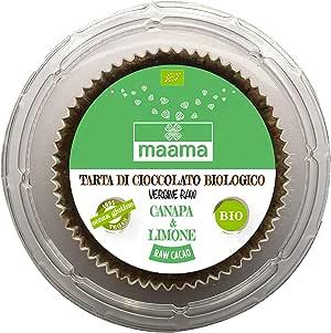 MAAMA | TARTA DI CIOCCOLATO VERGINE RAW - CANAPA & LIMONE | Cioccolato Raw Biologico | Vegano, Kosher | Ricco di Nutrienti | 1 x 75 g