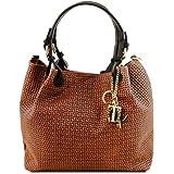 Tuscany Leather TL KeyLuck - Borsa shopping in pelle stampa intrecciata - TL141573