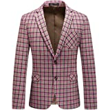 YOUTHUP Mens Check Blazer Slim Fit Formal 2 Button Plaid Suit Jacket Tweed Business Dress Blazers