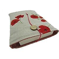 Protège livre fait main, housse protection livre Poche/broché, étui livre en tissus coton coquelicot molletonné, cadeaux…