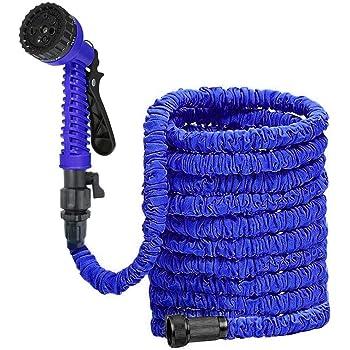 DAMIGRAM Tubo da Giardinaggio Estensibile Tubo Irrigazione, 25FT Flexi Tubo da Giardino Flexi Super Leggero Espandibile Wonder con 9 Funzione di Spruzzo (Blue)