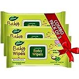 Dabur Baby Wipes: With Moisture Lock Cap |Contains Aloe Vera & Amba Haldi | Alcohol free ,pH balanced , Hypoallergenic & Derm