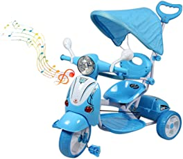 BAYBEE Vespa Trolly Cycle With Canopy And Parent Control (Blue)