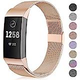 Funbiz Compatibel met Fitbit Charge 3 Bandje, Metalen Vervangingsband Polsbandjes voor Fitbit Charge 3, Heren Dames Klein Gro
