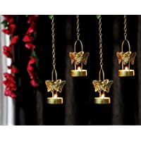 The Purple Tree Aluminium Hanging Butterfly Tealight Candle Holders Combo Pack (Pack of 4)