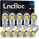 LncBoc W5W 501 LED Bulb T10 194 168 LED Bulbs White 5-SMD 5050 For Car Sidelights, Interior Light, Dashboard, Number…