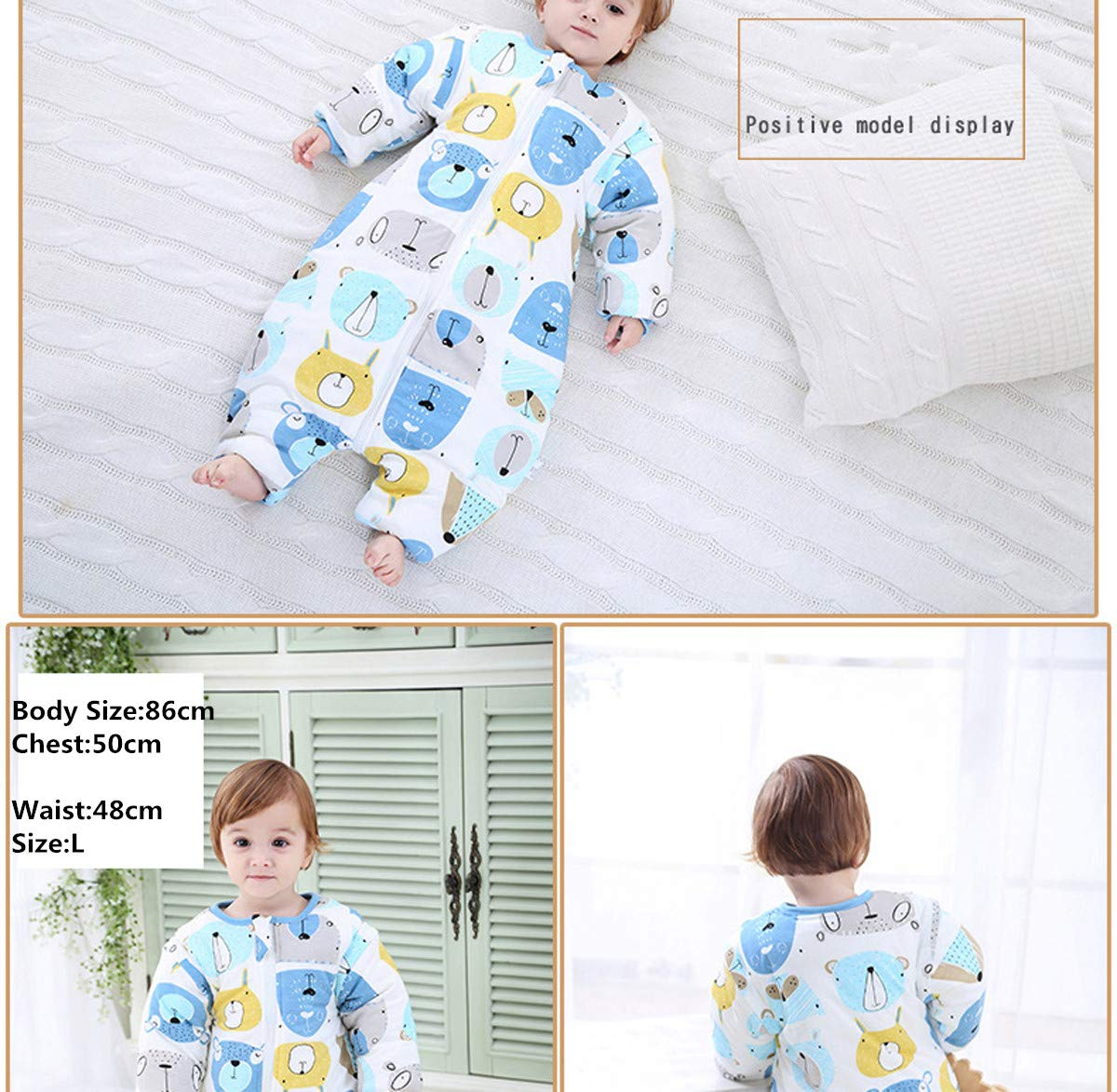 Saco de dormir para bebé con piernas forradas para invierno, de manga larga, con pies, 3,5 tog. rojo rojo Talla:M/Körpergröße 70cm-80cm