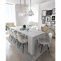 Home Innovation - Table Console Extensible, rectangulaire avec rallonges, jusqu'à 237 cm, pour Salle à Manger et séjour, Blanc Brillant. Jusqu´à 10 Personnes. Dimensions fermée : 90x50x78 cm.