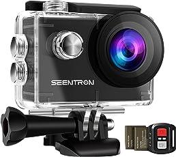 KAMTRON 4K Action Kamera Sport Actioncam Wasserdicht - Helmkamera mit 2.4G Fernbedienung WiFi Ultra HD 16MP 170°Weitwinkel 2 Wieder Aufladbare 1050mAh Akkus 19 teiliges Zubehör Kit