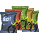 Greek Pitted Olives Variety Snack Multipack by Olymp | 5 x 70 Grams