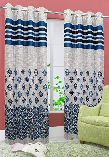 Buy Homefab India Set Of 2 Jute Aqua Blue Curtains Online At Low Prices In  India   Amazon.in
