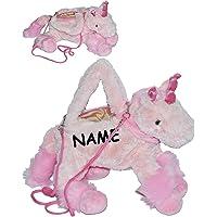alles-meine.de GmbH Tragetasche/ Umhängetasche - Einhorn - incl. Name - Kindertasche - pink rosa - Plüsch für Kinder…
