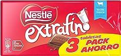 Nestlé Extrafino Tableta de Chocolate con Leche, 3 x 125g