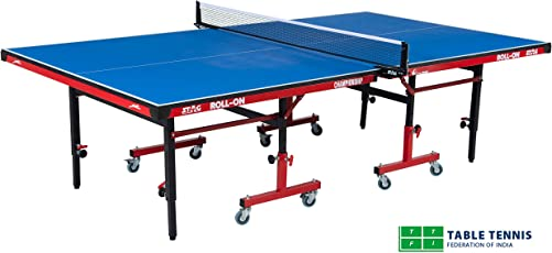 Stag Championship Adjustable Height Table Tennis Table Top Thickness 19 Mm with Net Set, Table Cover, 2 Racquets and 6 Balls Features Quick Assembly and Play Back Mode (Blue)