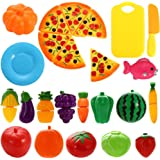 Twister.CK 24 PCS Play Food Set for Kids Plastic Cutting Pizza Fruits and Vegetables Pretend Play Set