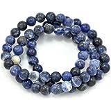 Paialco - Braccialetti elastici con perline rotonde in sodalite blu, confezione da 3