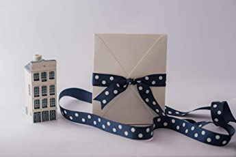 Navy Blue Grosgrain Ribbon with White Polka dots(22mm)