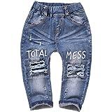Kidscool Bebé y Niñas Pequeñas Cintura Elástica Arrancado Agujeros Pantalones Vaqueros
