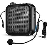APROTII Amplificador de Voz, Sistema de PA Recargable de 12 Vatios (1200 mAh) con Micrófono con Cable para Profesores, Guía T