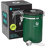 Kaffebryggare rostfritt stål behållare – behållare med kol2 ventil och skopa stor Large gRÖN