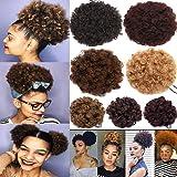 Afro Kinky Curly Updo flauschig Haargummi Haarteil Puff Pferdeschwanz Nadel Haar Bun Extensions mit elastischem Kordelzug Clips für Frauen -