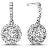 10K White Gold 1/2 Carat Diamond Dangle Earrings for Women