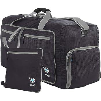 Bago Duffle Bag for Travel Luggage Gym Sport Camping - Lightweight Foldable Into Itself Duffel (Black, Medium 22'')