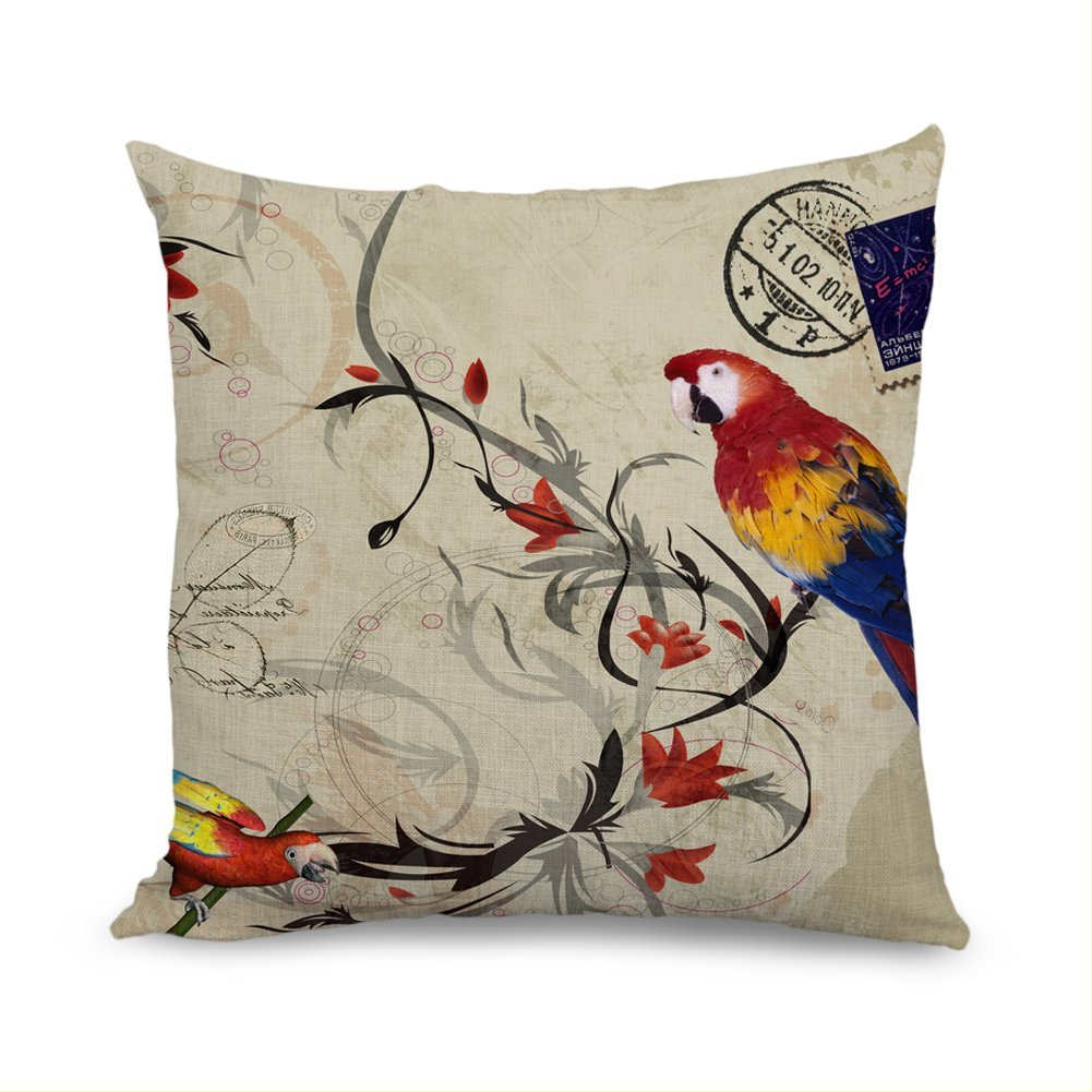 Cute uccelli cuscini federe per cuscino decorativo federa cuscini con zip 18�x 18�per divano